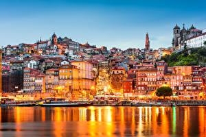 Фото Португалия Здания Реки Вечер Порту Уличные фонари Douro River