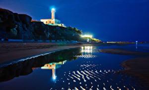 Обои Италия Побережье Маяки Ночь Anzio Lazio Природа фото