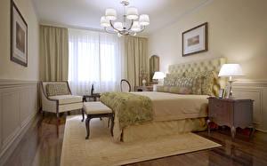 Обои Интерьер Дизайн Спальня Кровать Люстра Лампа Кресло Ковер фото