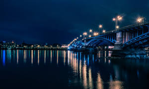 Фото Германия Речка Мосты Майнц В ночи Уличные фонари