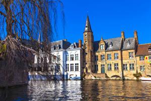 Обои Бельгия Здания Брюгге Водный канал город