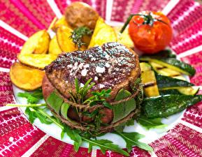 Картинки Мясные продукты Картофель фри Овощи Steak