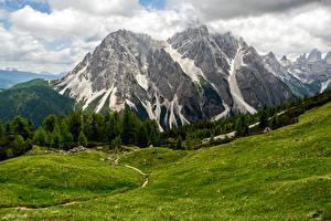 Фотография Италия Горы Луга Леса Облака Sesto Природа