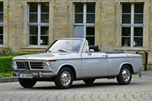 Картинки БМВ Старинные Серые Кабриолета 1967-71 BMW 1600-2 Cabrio Автомобили