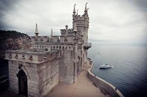 Обои Россия Крым Замки Castle Swallow's Nest Города фото