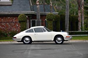 Обои Porsche Старинные Белый Сбоку 1965 356B-912 Coupe Авто