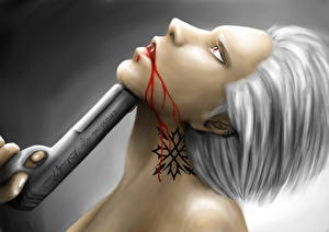 Обои Вампиры Пистолеты Кровь Фэнтези