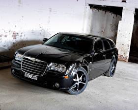 Обои для рабочего стола Chrysler Черный Металлик 2007 300C SRT8 E490 Touring Автомобили