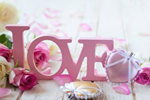 Фото Розы Праздники День святого Валентина Любовь Сердце Бантик Слово - Надпись Цветы