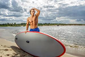 Фото Мужчины Побережье Серфинг Облака