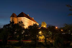 Картинки Польша Замки Ночь Деревья Уличные фонари Sandomierz Royal Castle Города