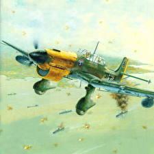 Фотографии Самолеты Истребители Рисованные Junkers Ju 87