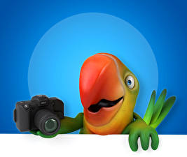 Картинки Птицы Попугаи Фотоаппарат Клюв 3D Графика Животные