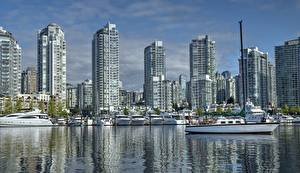 Обои Дома Яхта Причалы Канада Ванкувер False Creek Yaletown Города
