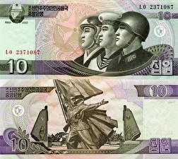 Обои Деньги Купюры 10 won North Korea (DPRK) фото