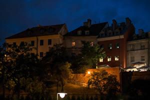 Фотографии Польша Дома Ночные Уличные фонари Lublin Города