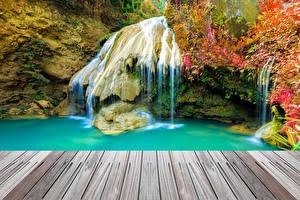 Обои Таиланд Парки Водопады Мох Природа фото