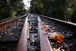 Фотографии Вблизи Железные дороги Рельсах