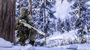 Фотографии Зимние Снайперская винтовка Battlefield 4 Снайперы Снег