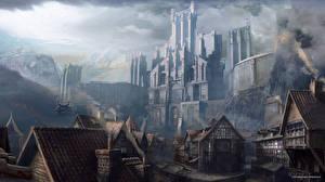 Картинка Wolfenstein Фантастический мир Замок The New Order Игры Фэнтези