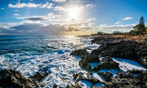 Картинки Америка Пейзаж Берег Волны Небо Океан Гавайи Облака Nanakuli Природа