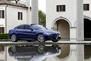 Картинки Alfa Romeo Синяя Металлик 2016 Giulia Worldwide Автомобили