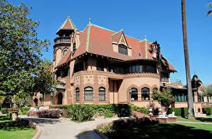 Обои США Дома Ландшафт Лос-Анджелес Особняк Дизайн Кусты Города фото