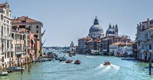 Картинки Италия Здания Катера Венеция Водный канал Grand Canal