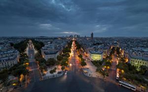 Фото Франция Дороги Дома Париж Ночь Улица Сверху Города