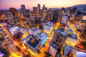 Обои Канада Дома Вечер Ванкувер Мегаполис Улица Сверху город