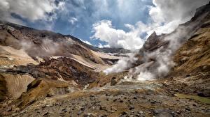 Картинка Россия Гора Камчатка Облачно Вулкан Природа