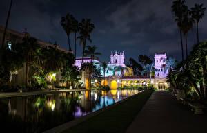 Обои Здания Пруд США Сан-Диего Калифорнии Пальма В ночи Balboa Park город
