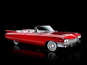 Обои Cadillac Красный Кабриолет Черный фон 1960 Sixty-Two Convertible Автомобили фото