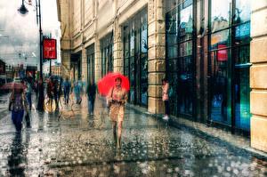 Фото Санкт-Петербург Дождь Россия Улица Города