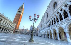 Фотография Италия Дома Венеция Улица Уличные фонари Piazza San Marco Города
