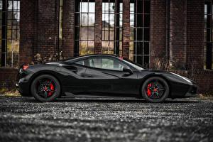 Фотография Ferrari Черный Металлик Сбоку 2015 Edo Competition 488 GTB Машины