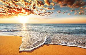 Обои Рассветы и закаты Море Океан Побережье Небо Горизонт Облака Природа