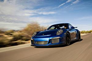 Фотографии Porsche Синий Движение 911 GT3 Машины