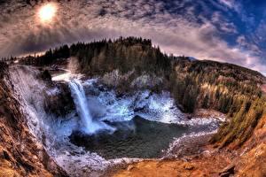 Обои Водопады Пейзаж Леса США Вашингтон Snoqualmie Falls Природа