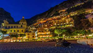 Обои Италия Дома Побережье Позитано Ночь Города фото