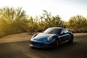 Фотография Porsche Синий 911 GT3 Автомобили
