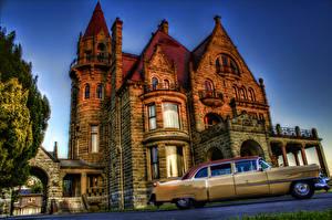 Фото Cadillac Замки Винтаж HDR Craigdarroch Castle 1954 Города Автомобили