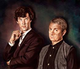 Обои Рисованные Шерлок Холмс Мужчины Камбербэтч Бенедикт Двое Holmes and Watson, Martin Freeman Фильмы Знаменитости фото