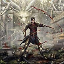 Обои Dragon Age Драконы Воители Мужчины Доспехи Кровь Фэнтези