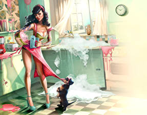 Фотографии Собаки Рисованные Платье Смешные Девушки