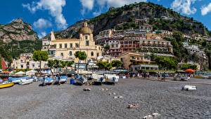 Фотографии Италия Горы Дома Лодки Позитано Города