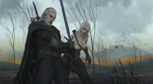 Обои The Witcher 3: Wild Hunt Воители Мужчины Геральт из Ривии Двое Мечи Cirilla Fiona Elen Riannon Игры Девушки фото