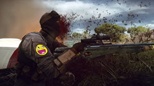 Картинки Battlefield 4 Снайперская винтовка Снайперы Кровь Игры