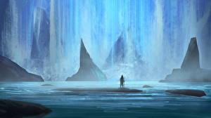 Фотографии Фантастический мир Вода Водопады Фэнтези