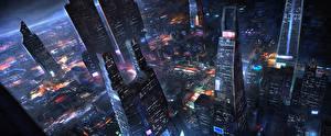 Фотография Фантастический мир Небоскребы Дома Мегаполиса Сверху Фэнтези